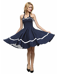 Women's Bow/Backless Party Vintage A Line/Skater Dress,Striped Halter Knee-length Sleeveless Blue/Red/Black Cotton Summer Mid Rise
