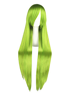 Perucas de Cosplay Estrela da sorte Grell Sutcliff Verde Longas Anime Perucas de Cosplay 100 CM Fibra Resistente ao CalorMasculino /