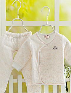 bebê Conjunto-Casual Cor Única-Algodão-Primavera / Outono-Branco