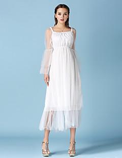 Pochwa / Szyfon Sukienka Obuwie damskie Codzienne Seksowna Jendolity kolor,Bateau Midi Długi rękaw Biały Bawełna / PoliesterNa każdy