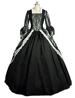 Yksiosainen/Mekot Gothic Lolita Steampunk® Viktoriaaninen Cosplay Lolita-mekot Musta Painettu Pitkähihainen Pitkä Pituus Leninki varten