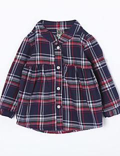 bebê Camisa-Casual Houndstooth-Algodão-Outono-Azul