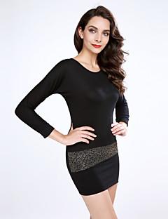 여성 칼집 드레스 캐쥬얼/데일리 플러스 사이즈 섹시 솔리드,라운드 넥 미니 긴 소매 면 그외 봄 가을 중간 밑위 스트레치 얇음