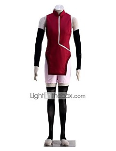 Inspirirana Naruto Uchiha Sarada Anime Cosplay nošnje Cosplay Suits Jednobojni Bez rukávů Mellény Rukavice Kratke hlače Za Ženka