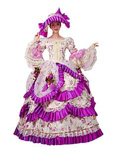 Yksiosainen/Mekot Gothic Lolita Klassinen ja Perinteinen Lolita Steampunk® Viktoriaaninen Cosplay Lolita-mekot Fuksia Kukka Pitkä Pituus