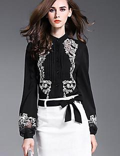 Damen Stickerei Anspruchsvoll Lässig/Alltäglich Hemd,Hemdkragen Herbst Langarm Schwarz Polyester Undurchsichtig