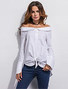 Damen Solide Einfach Street Schick Ausgehen Lässig/Alltäglich Hemd,Bateau Sommer Herbst Langarm Polyester Dünn