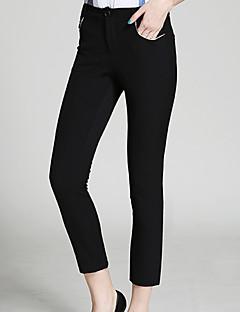 burdully sólida preto / marrom chinos pantssimple das mulheres