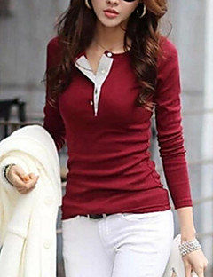 Feminino Camiseta Casual Simples Moda de Rua Primavera Outono Inverno,Sólido Algodão Outros Decote Redondo Manga Longa Média