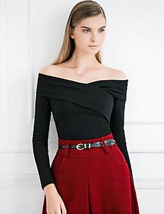 Langærmet Bateau-hals Solid Dame Rød / Sort Ensfarvet Forår / Efterår Sexet / Simpel I-byen-tøj T-shirt,Bomuld