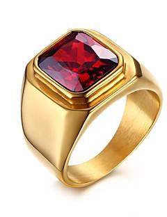 Homens Maxi anel Zircônia cúbica Amor bijuterias Personalizado Aço Inoxidável Zircão Zircônia Cubica Chapeado Dourado Quadrado Jóias Para