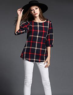 Tee-shirt Femme,Tartan Sortie / Décontracté / Quotidien / Grandes Tailles simple / Chic de Rue / Sophistiqué Toutes les Saisons Manches ¾