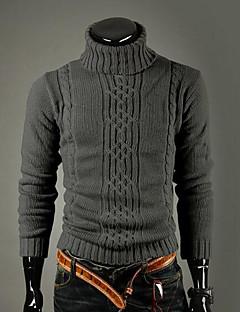 Masculino Padrão Pulôver,Casual Vintage Simples Sólido Gola Alta Manga Longa Lã Inverno Grossa Com Stretch