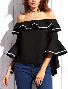 Damen Solide Einfach Street Schick Ausgehen Lässig/Alltäglich Bluse Alle Saisons Baumwolle Kunstseide Dünn