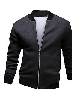 男性 カジュアル/普段着 / お出かけ ソリッド ジャケット,ヴィンテージ / ストリートファッション シャツカラー ブラック / グレイ コットン 長袖