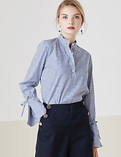 Langærmet Høj krave Medium Dame Blå Stribet Forår Simpel Casual/hverdag Skjorte,Bomuld