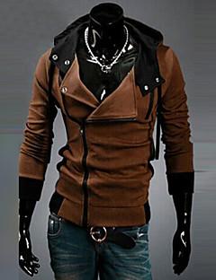 Plusstørrelser Hoodie Jacket Herre Fritid/hverdag Ensfarget Bomull Polyester Langermet