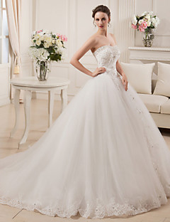 Ball Gown Strapless Court Train Satin Tulle Wedding Dress with Beading Appliques Bow by MDHS