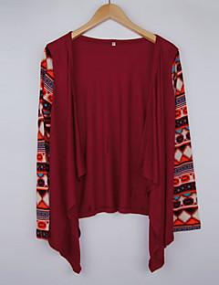 Women's Print Red Wrap , Asymmetrical Long Sleeve