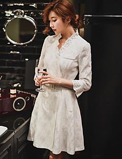 Feminino Casaco Longo Para Noite Casual Férias Vintage Moda de Rua Sofisticado Primavera Outono, Sólido Branco Poliéster Decote V-Meia