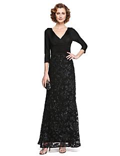 A-linje V-hals Ankellang Blonder Jersey Kjole til brudens mor - Appliqué Paljetter Plissert av LAN TING BRIDE®