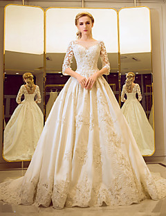 Ball Gown Illusion Neckline Court Train Tulle Wedding Dress with Beading Pearl Sequin Lace Ruffle by YUANFEISHANI