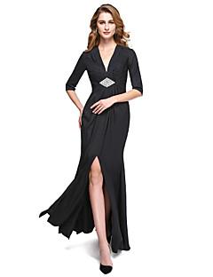 Ίσια Γραμμή Λαιμόκοψη V Μακρύ Ζέρσεϊ Φόρεμα Μητέρας της Νύφης - Με Άνοιγμα Μπροστά Χιαστί Κρυστάλλινη καρφίτσα Πλισέ με LAN TING BRIDE®