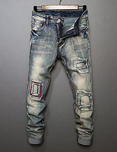 Herren Einfach Mittlere Hüfthöhe Mikro-elastisch Jeans Gerade Hose Solide