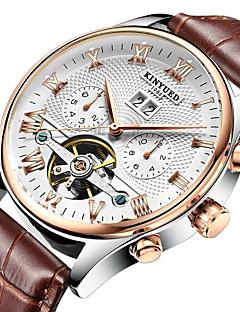 KINYUED Herren Kleideruhr Totenkopfuhr Armbanduhr Mechanische Uhr Automatikaufzug Kalender Chronograph Wasserdicht Leder BandBequem