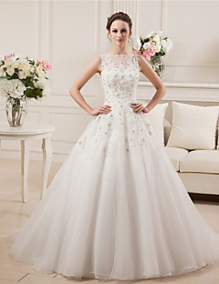 A-Line Illusion Neckline Court Train Satin Tulle Wedding Dress with Beading Lace by MDHS