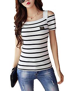 女性 カジュアル/普段着 夏 Tシャツ,シンプル スクエアネック ストライプ レッド ブラック コットン レーヨン 半袖 薄手