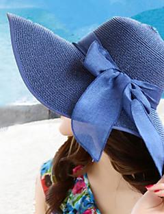 kvinner sommer sammenleggbar stråhatt bred brem bowknot sol hatter