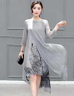 Damen Lose Kleid-Lässig/Alltäglich Übergröße Einfach Druck Rundhalsausschnitt Midi ½ Länge Ärmel Grau Kunstseide Frühling SommerMittlere