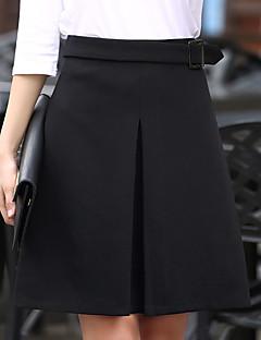 Damen Übergrössen Röcke,A-Linie einfarbig Mehrschichtig,Ausgehen Lässig/Alltäglich Arbeit Sexy Niedlich Hohe Hüfthöhe Knielänge
