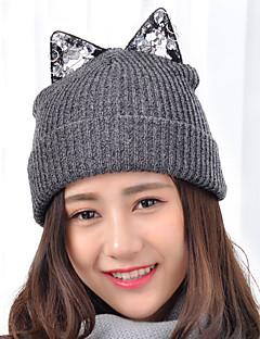 Ženy krajky drahokamu roztomilý kočičí uši kulatý značka vlněné pletací lyžařské kamelot čepici