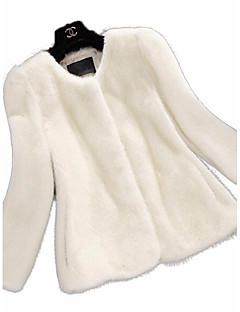 Dames Eenvoudig Verfijnd Winter Bontjas,Uitgaan Casual/Dagelijks Effen Ingesneden revers Lange mouw Normaal Rex konijnenbont