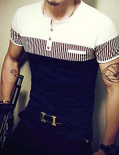メンズ カジュアル/普段着 スポーツ オールシーズン Tシャツ,シンプル 活発的 ラウンドネック ストライプ コットン スパンデックス 半袖 ミディアム