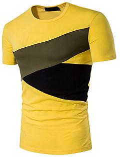 Bomull Medium Kortermet,Rund hals T-skjorte Fargeblokk Sommer Enkel Aktiv Ut på byen Formelle Herre