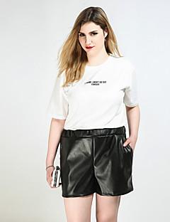Feminino Sensual Simples Punk & Gothic Cintura Alta Inelástico Shorts Calças,Solto Reto Cor Única,Côr Pura Férias Fashion