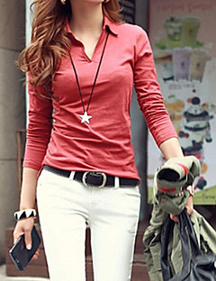 Tee-shirt Aux femmes Couleur Pleine Manches Longues Col Arrondi Mélanges de Coton