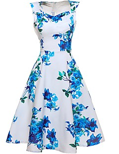 Women's Floral Patterns Casual/Daily Beach Holiday Vintage Sheath Swing Dress,Floral V Neck Knee-length Sleeveless Cotton Polyester Summer High Rise