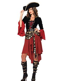 Cosplay Kostumer Festkostume Pirat Festival/Højtider Halloween Kostumer Sort/Rød Patchwork Kjole Bælte Hat Halloween Karneval Nytår
