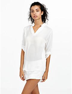 Damen Solide Einfach / Street Schick Lässig/Alltäglich Hemd,Ständer Herbst Langarm Blau / Weiß Polyester