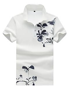 Masculino Polo Casual Tamanhos Grandes Simples Verão,Estampado Algodão Elastano Colarinho de Camisa Manga Curta Média