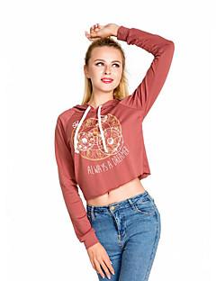 Damen Kapuzenshirt Lässig/Alltäglich Street Schick Druck Mikro-elastisch Polyester Lange Ärmel Frühling Herbst