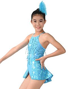 Jazz Fatos Justos Mulheres Crianças Actuação Elastano Poliéster Lantejoulas Frente Dividida 2 Peças Sem Mangas Alto Malha Collant Tiaras