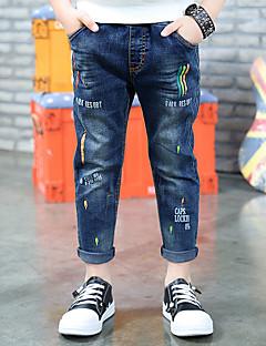 Para Meninos Jeans Bordado Primavera Verão Algodão