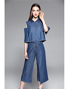 Damă Guler Cămașă Cămașă Pantaloni Costume Concediu Ieșire Casul/Zilnic Simplu,Mată Manșon Scurt Primăvara Vara Micro-elastic