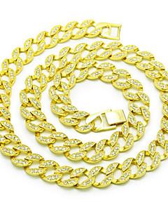 Castiçal de homens de boneca de 15 milímetros colares de cadeia de jóias de diamante de diamante de diamante de diamante simples para