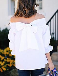 Damen Solide Einfach Anspruchsvoll Ausgehen Arbeit Bluse,Bateau Alle Saisons Langarm Polyester